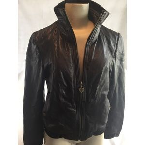 Vintage Guess Women Brown Leather Bomber Jacket M